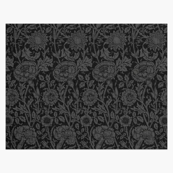 William Morris Carnations | Black and Grey Floral Pattern | Flower Patterns | Vintage Patterns | Classic Patterns | Jigsaw Puzzle