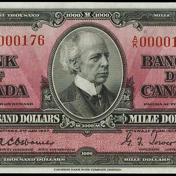 $1000 Bill - Canada - 1937 by cartoon