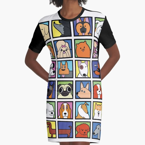 Cartoon Dog Breeds Graphic T-Shirt Dress