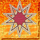 Cherry Wood 10 Point Star on Flaming Background by anankeblue