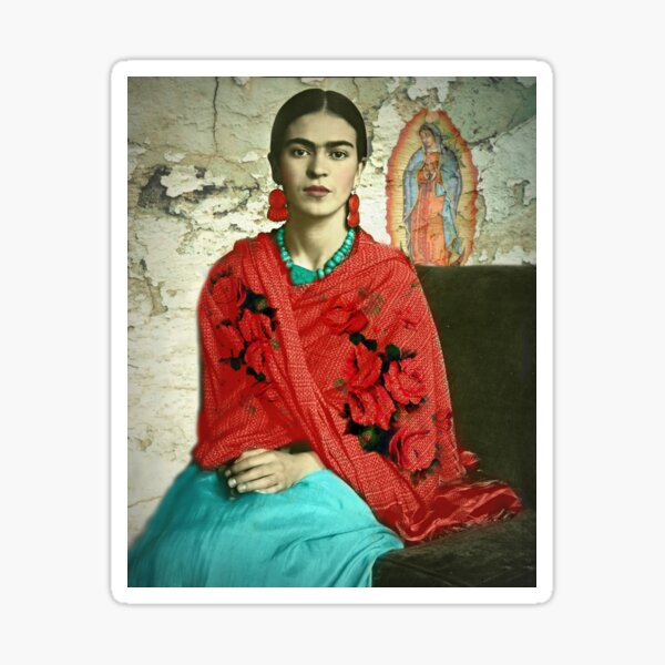 Frida Kahlo with Our Lady of Guadalupe Sticker