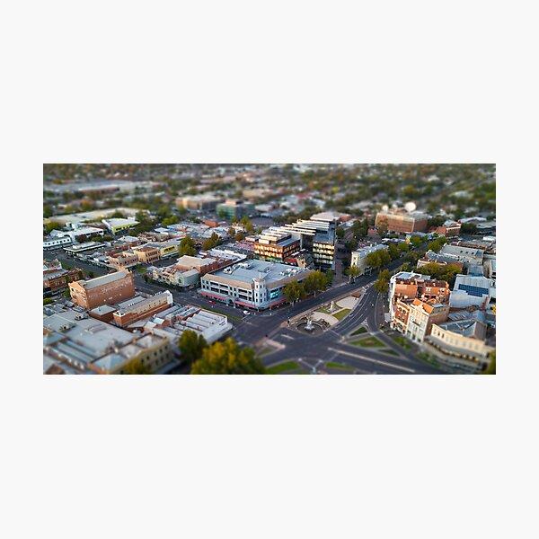 Pall Mall,  Alexandra Fountain, Bendigo Bank and the CBD Photographic Print
