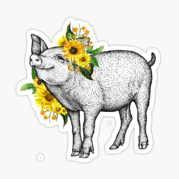 Cute Sunflower Pig Sticker