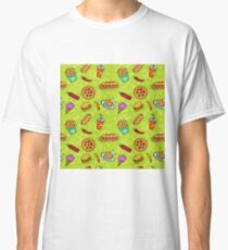 Fast Food Doodle Seamless Pattern Classic T-Shirt