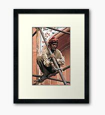Building scaffolding in Delhi, India Framed Print