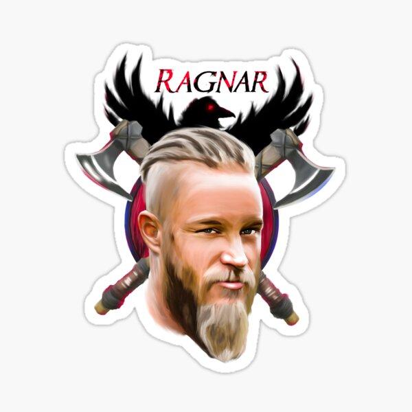 Ragnar Lothbrok Kunst mit Äxten und Raben Sticker