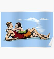 Couple on the beach Poster