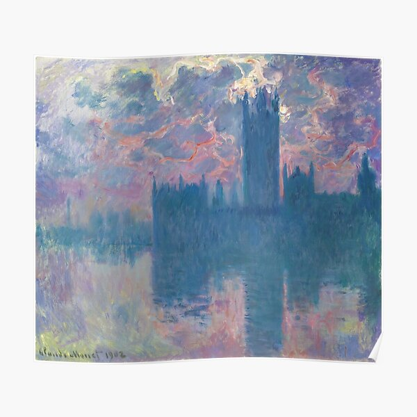 Claude Monet - Parlement, coucher du soleil (sunset), 1902 Poster