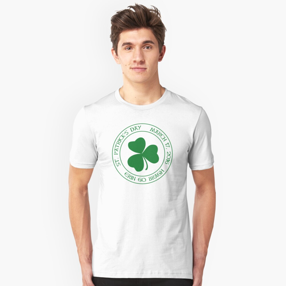St. Patrick's Day 2016 round, green Unisex T-Shirt Front