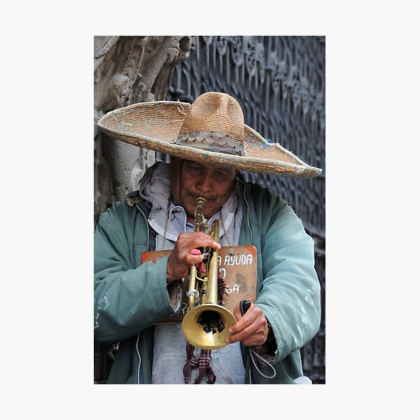 Trumpeting a tune in Puebla, Mexico Photographic Print