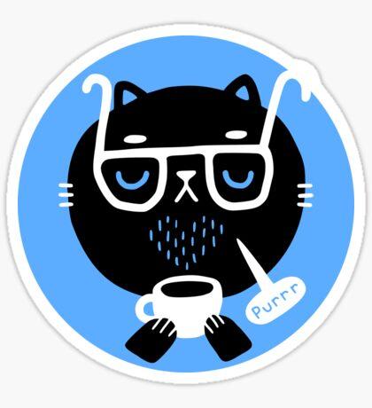 Cat Loves Coffee Glossy Sticker