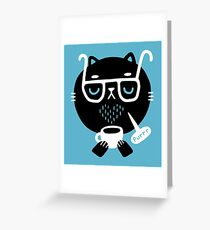 Cat Loves Coffee Greeting Card