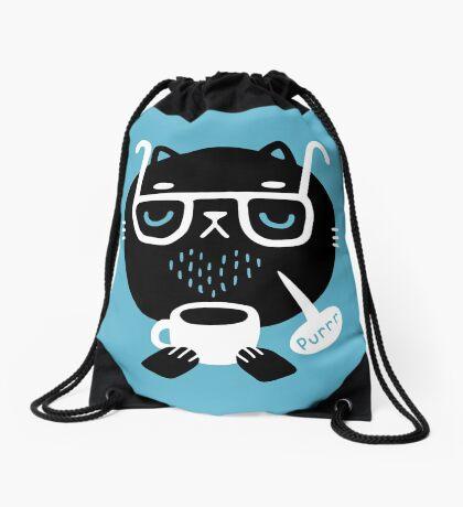 Cat Loves Coffee Drawstring Bag