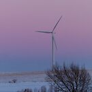 Wind Turbine At Sunset by Deb Fedeler