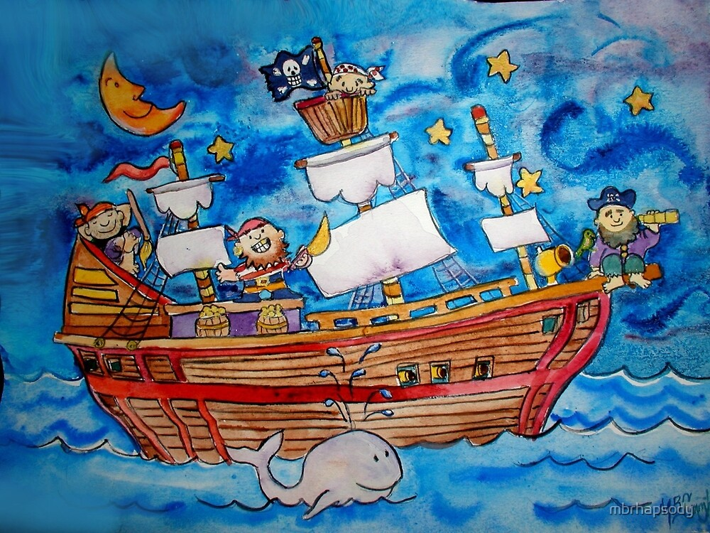 Ahoy! Pirate Ship Watercolor for Kids by Marybeth Cunningham