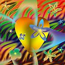 A Gold Heart with Flowers on a Rainbow Backdrop by anankeblue