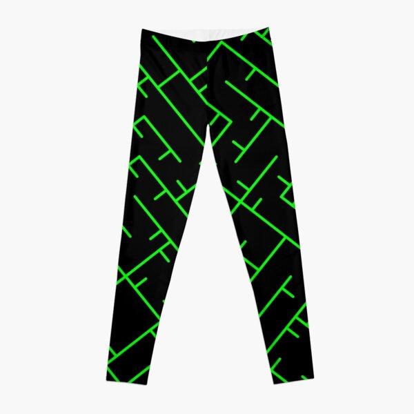 Green Line Pattern | Truchet Pattern | Illustration | cool | modern art | abstract art | simple Leggings