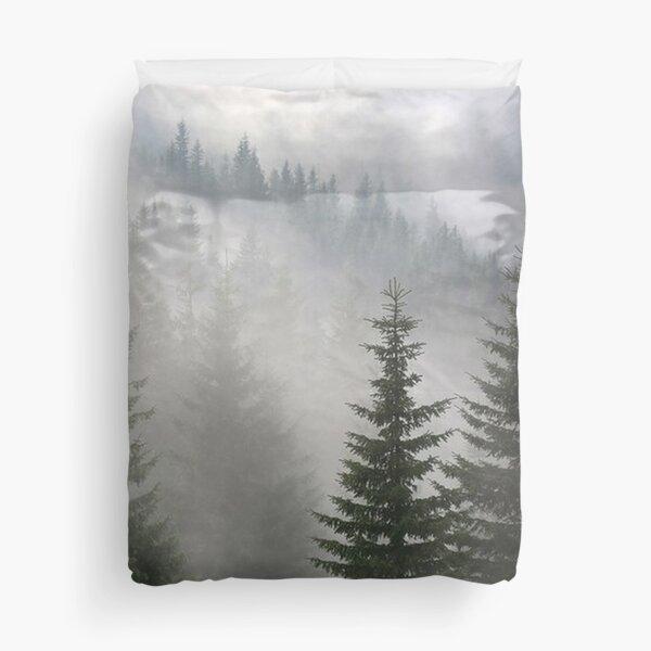 Foggy Pine Trees Forest Duvet Cover