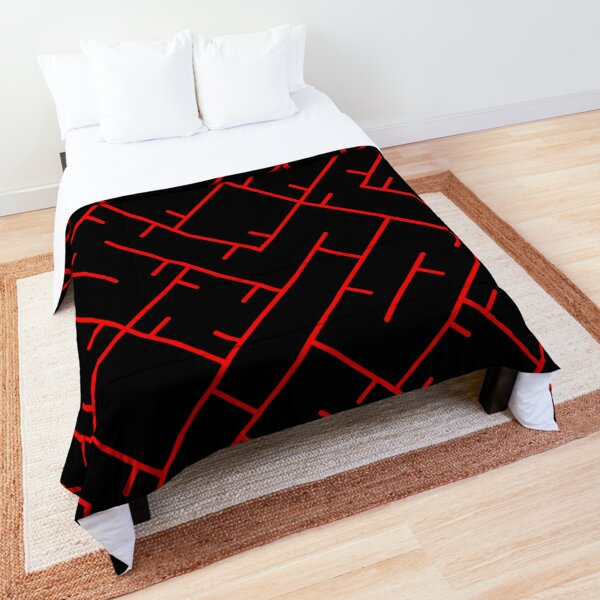 Red Line Pattern | Truchet Pattern | Illustration | cool | modern art | abstract art | simple Comforter