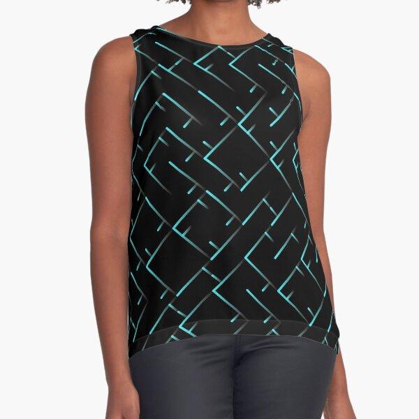 Turquoise Line Pattern | Truchet Pattern | Illustration | cool | modern art | abstract art | simple Sleeveless Top