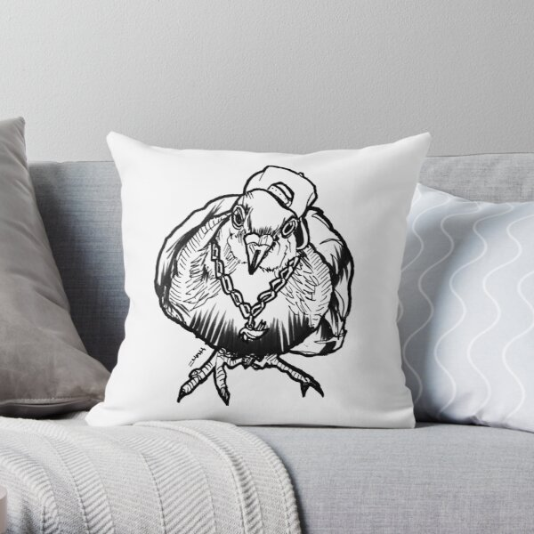 Homie Pigeon (Black & White) RedBubbleArtParty Throw Pillow