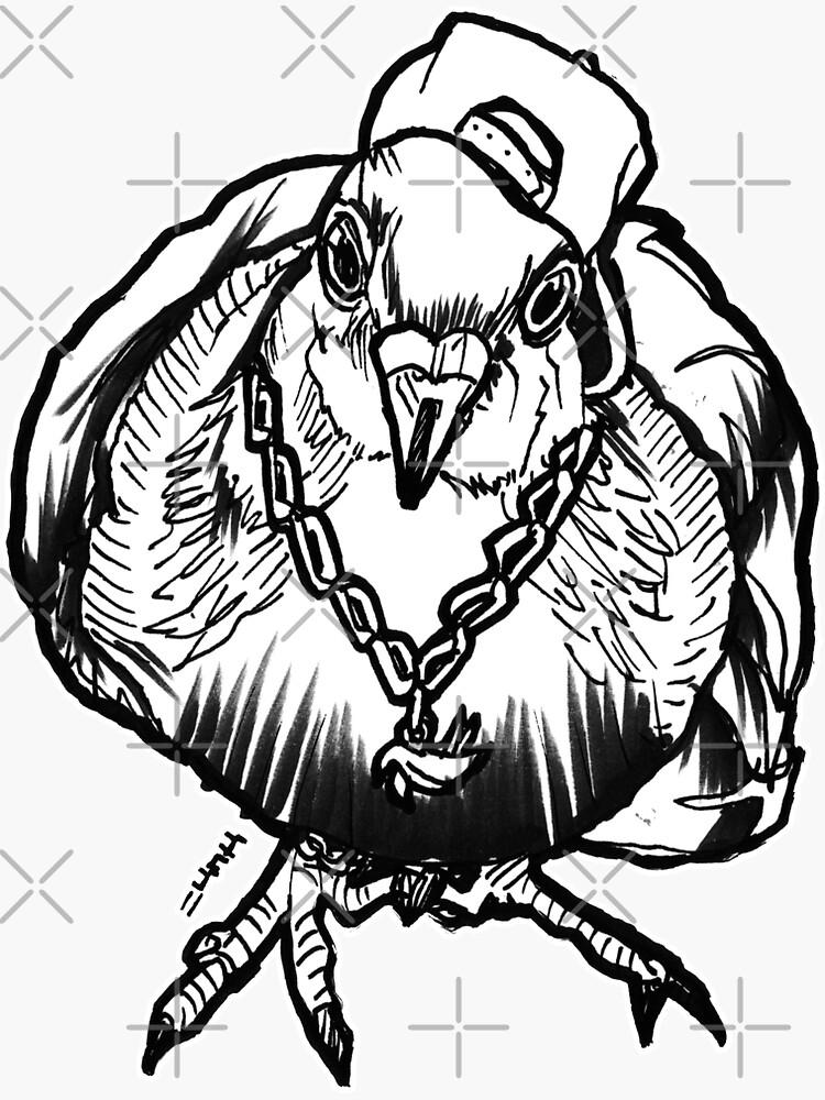 Homie Pigeon (Black & White) RedBubbleArtParty by sketchNkustom