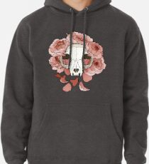 Cat and peonies- pink Pullover Hoodie