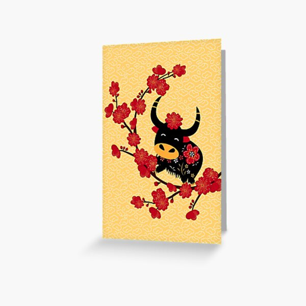 Retro Chinese New Year of Ox and Plum Blossom Greeting Card