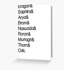 Character List Eragon Greeting Card