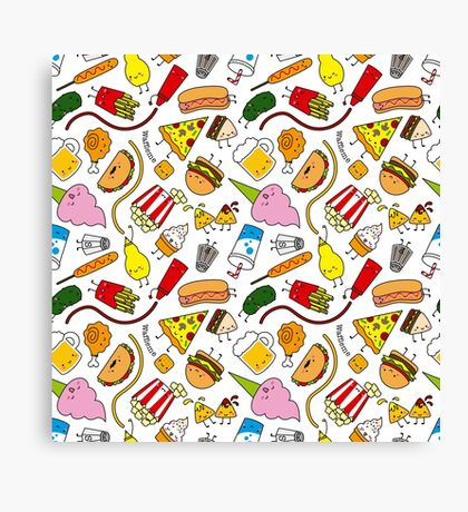 Kawaii junk food pattern! Canvas Print