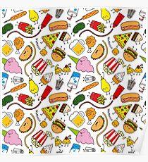 Kawaii junk food pattern! Poster