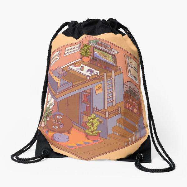 Small Isometric Apartment Drawstring Bag
