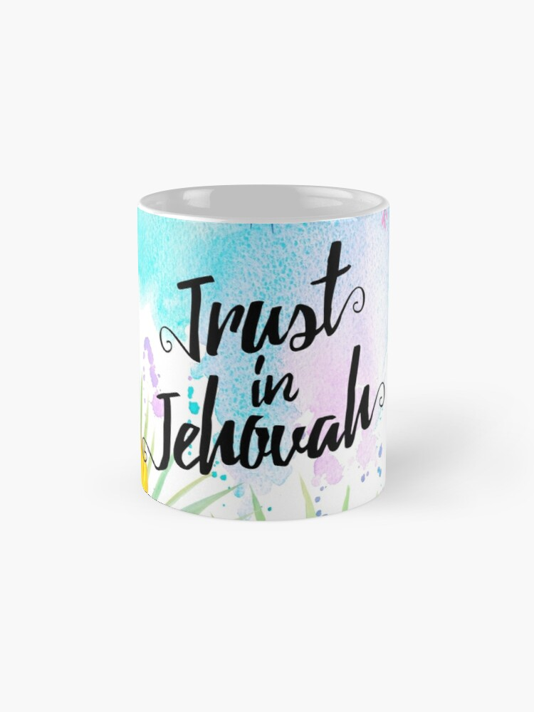 Alternate view of Trust in Jehovah (Watercolor Butterflies and Flowers) Mug