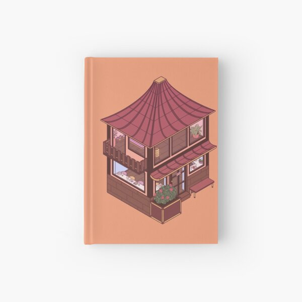 Small Isometric Japanese Themed Cafe Hardcover Journal