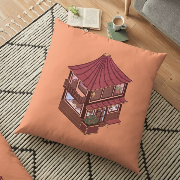 Small Isometric Japanese Themed Cafe Floor Pillow