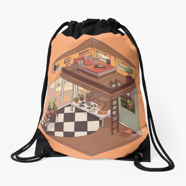 Cute Isometric Apartment with Many Plants Drawstring Bag