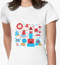 Sea and pirate icons Women's Fitted T-Shirt