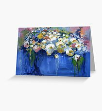 White flowers in a blue vase Greeting Card