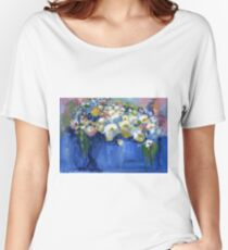 White flowers in a blue vase Women's Relaxed Fit T-Shirt