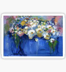White flowers in a blue vase Sticker