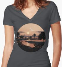 Jurassic Beach Women's Fitted V-Neck T-Shirt