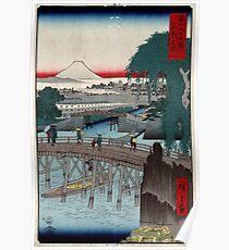 Ikkoku Bridge In the Eastern Capitol - Hiroshige Ando - 1858 - woodcut Poster