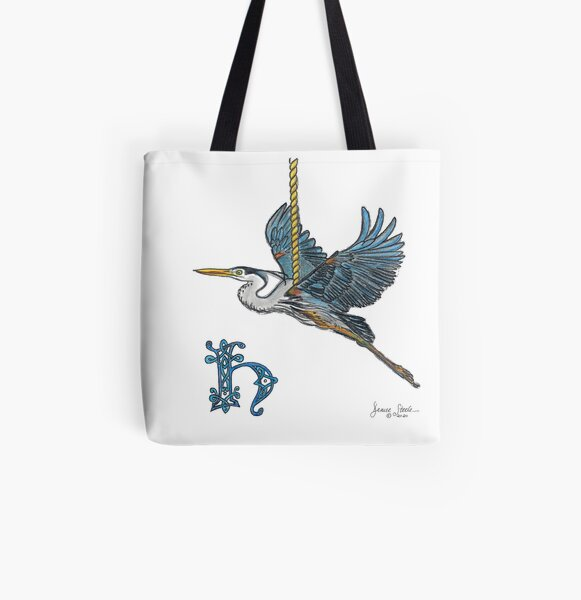 H is for Heron! All Over Print Tote Bag