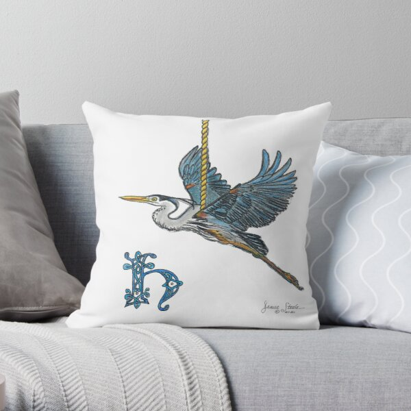 H is for Heron! Throw Pillow