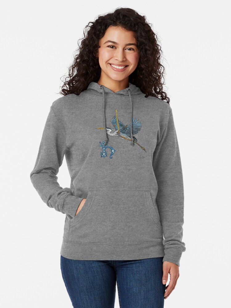 Alternate view of H is for Heron! Lightweight Hoodie