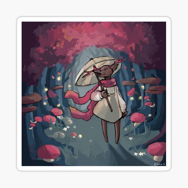 Hirschmädchen im Wald illustartion Sticker