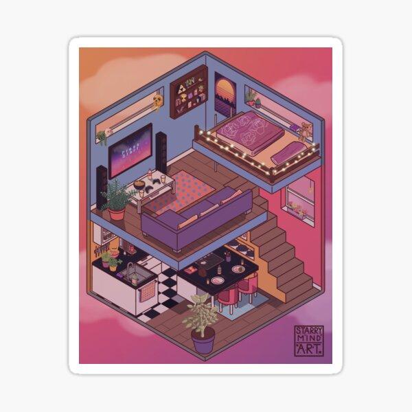 Small Apartment with Cute Kitchen Corner Sticker