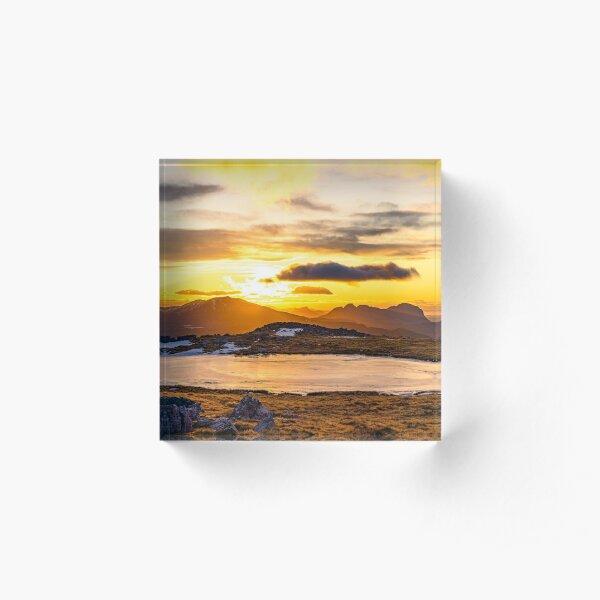 Frozen Sunset, Glas Bheinn Summit Plateau Acrylic Block