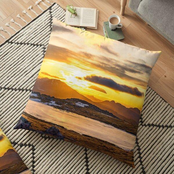 Frozen Sunset, Glas Bheinn Summit Plateau Floor Pillow