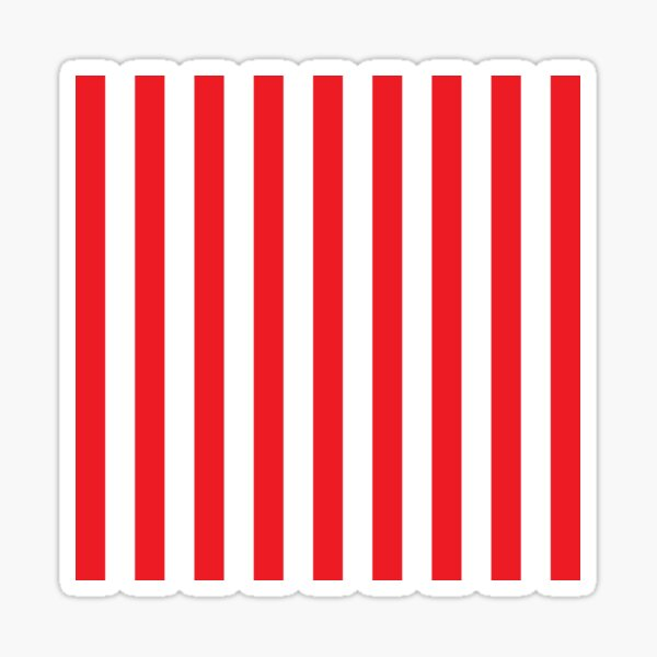 Red and White Stripes. Large red vertical stripes on a transparent background Sticker